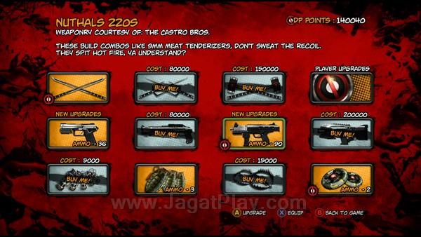 Fitur yang mulai menjadi standar sebagian besar game saat ini: character progression. Anda bisa membuka senjata baru, serangan yang lebih mematikan, dan tentu saja memperkuat Deadpool itu sendiri.