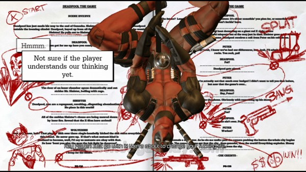 Deadpool sudah menabrak dinding keempat sejak awal permainan. Ia diceritakan tengah terlibat dalam sebuah video game yang tengah dikembangkan oleh High Moon studios.