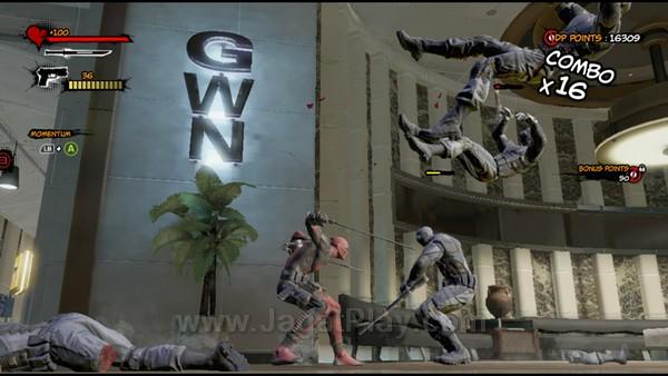 Diperkuat dengan dua jenis serangan yang dapat dikombinasikan, Deadpool juga dibekali dengan kemampuan counter yang serupa dengan mekanik Batman: Arkham City.