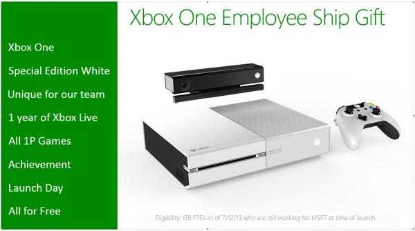 Para pegawai yang bernaung di bawah Microsoft akan mendapatkan Xbox One versi Putih gratis, beberapa game, dan langganan Xbox Live selama satu tahun.