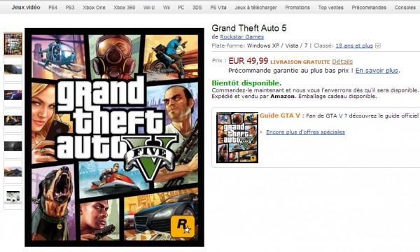 Setelah 150 halaman laporan bug yang mengindikasikan kehadiran GTA V versi PC, kini giliran situs retail raksasa - Amazon yang memberikan secercah harapan. Walaupun belum memberikan waktu rilis sama sekali, Amazon Perancis sudah membuka pre-order untuk GTA V PC.