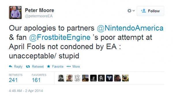 """Memancing begitu banyak reaksi negatif di dunia maya, EA akhirnya minta maaf secara terbuka pada Nintendo atas lelucon yang mereka sebut sebagai """"bodoh"""" dan """"tidak pantas"""""""