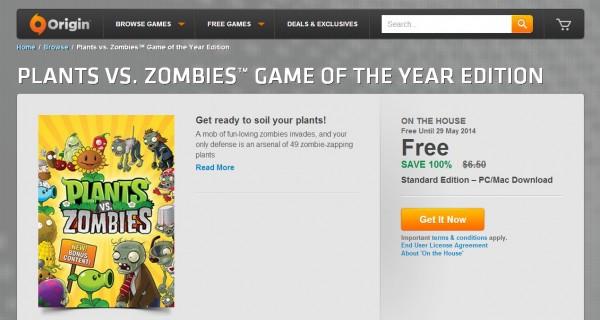 Anda bisa mengunduh Plants vs. Zombies: Game of the Year Edition secara GRATIS via Origin! Batas waktunya hingga 29 Mei 2014 mendatang.