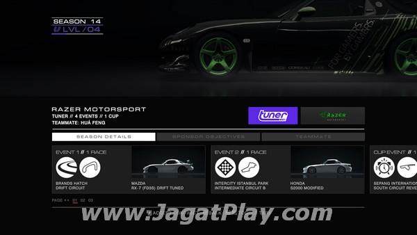 Untuk kelas Tuner, akan ada event Drift, Time Attack, dan juga Race standar.