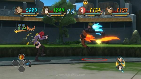 Hadir dengan gaya bertarung uniknya sendiri, serangan Mecha Naruto lebih banyak dihiasi pendorong roket di sana sini.