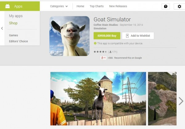 Goat Simulator akhirnya tersedia untuk perangkat mobile berbasis Android dan iOS.