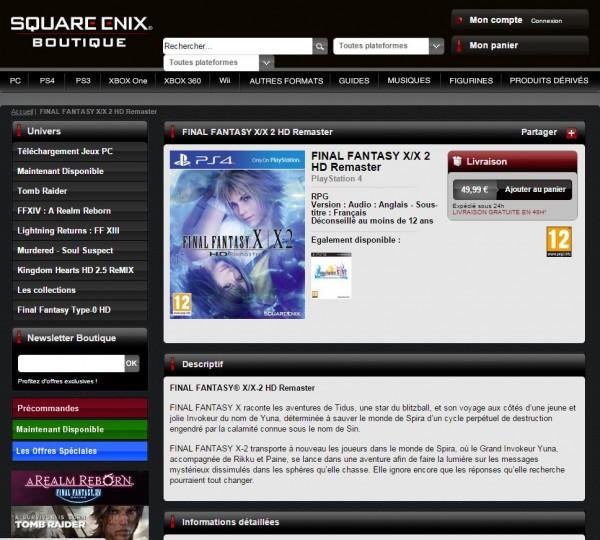 Final Fantasy X / X-2 HD Remaster versi Playstation 4 ini terlihat di toko online resmi Square Enix Perancis.