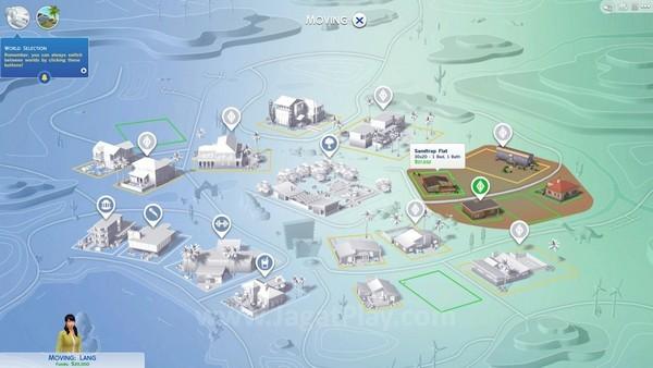 Lokasi yang bisa didatangi Sims terbagi menjadi beberapa blok kota.