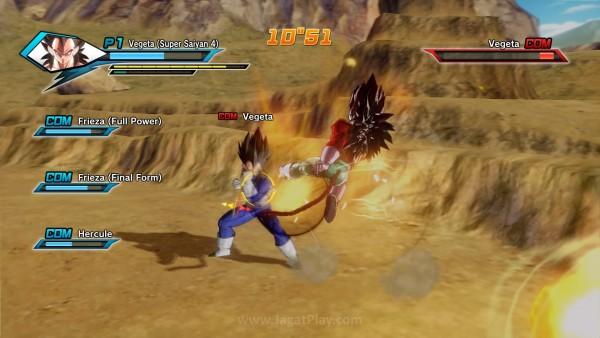 Pertarungan berjalan cepat seperti seharusnya sebuah game Dragon Ball.
