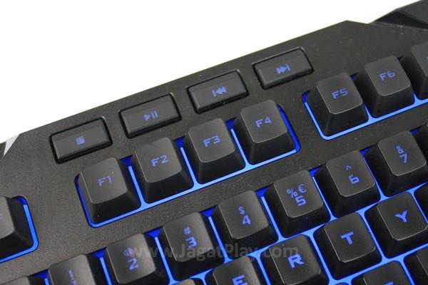 Tombol pengatur media player terletak di bagian atas keyboard
