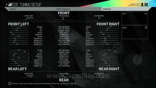 Semua setting tuning mobil disimpulkan dalam satu layar