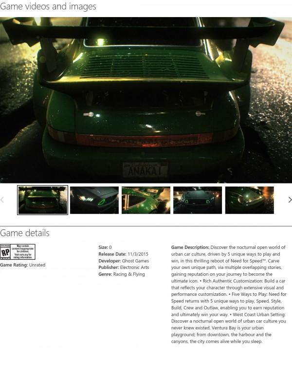 """Xbox Games Store tidak sengaja """"membocorkan"""" detail dan tanggal rilis Need for Speed reboot yang terulis """"3 November 2015""""."""