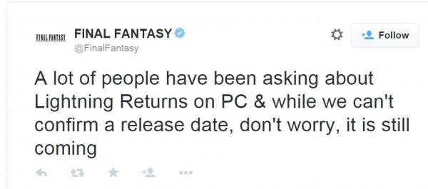 Square Enix memastikan bahwa Lightning Returns: FF XIII tetap akan menuju PC.