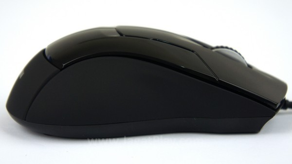 Sisi luar mouse didominasi oleh permukaan karet