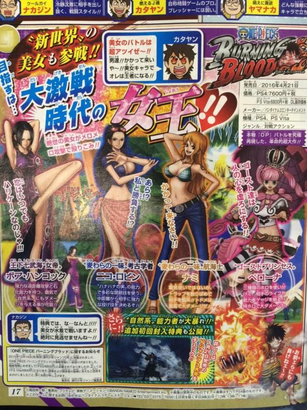 One Piece: Burning Blood akhirnya memastikan kehadiran 4 karakter wanita pertama untuk seri game fighting tersebut.