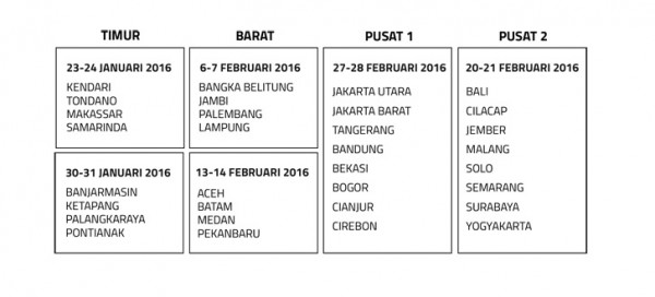 Ia akan diselenggarkan di 32 kota secara bertahap dengan Grand Final di Surabaya.