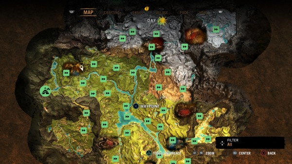 """Ada kesan familiar di stuktur misi yang ada. Ada banyak misi acak, misi sampingan, dan tentu misi utama yang bisa diselesaikan untuk memicu progress cerita. Sistem """"tower"""" di Primal kini hanya sekedar untuk membuka Fast Travel Point."""