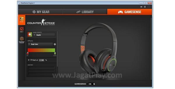 Fitur gamesense mampu menunjukkan kondisi Anda di dalam permainan melalui cahaya di headphone