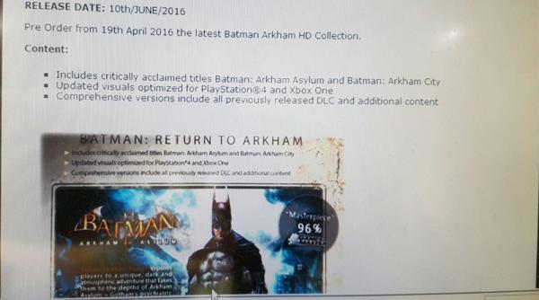 Tiga seri Batman: Arkham selain Origins kabarnya akan dirilis dalam bentuk HD Collection untuk Playstation 4 dan Xbox One.