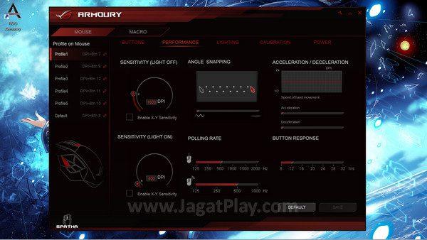 ASUS Armoury memberikan banyak kendali untuk mengatur kinerja mouse