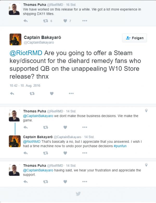 Quantum Break versi Win 10 tak akan mendapat update DX11. Gamer yang ingin memainkan versi DX11 harus membeli lagi dari Steam.