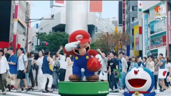 Beberapa maskot ikonik dari Jepang seperti Doraemon dan Mario muncul mempromosikan event Olimpiade Tokyo 2020.
