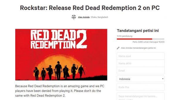 Petisi untuk meminta Rockstar membawa RDR 2 ke PC pun muncul.