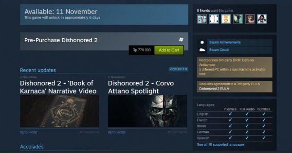 Dishonored 2 dipastikan menggunakan Denuvo.