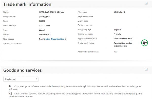 EA mendaftarkan Need for Speed Arena di badan merk dagang Eropa.