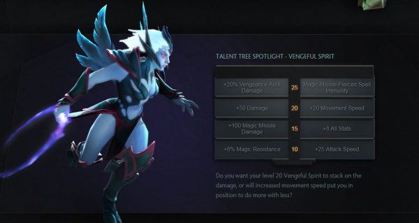 Seperti Heroes of the Storm, tiap hero kini bisa memilih talent di level 10 / 15 / 20 / 25.