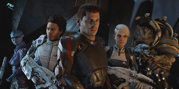 Peebee, Llam, Ryder, Cora, dan Drack.