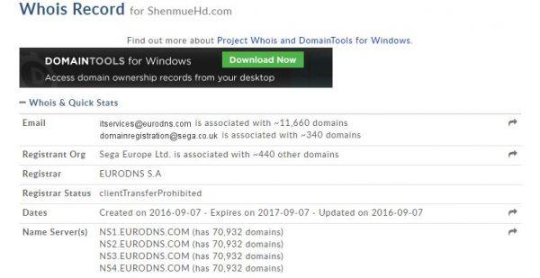 SEGA Eropa mendaftarkan domain untuk Shenmue HD.