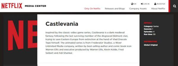 Berjumlah 4 episode, film animasi Castlevania akan tiba di Netflix tahun ini.