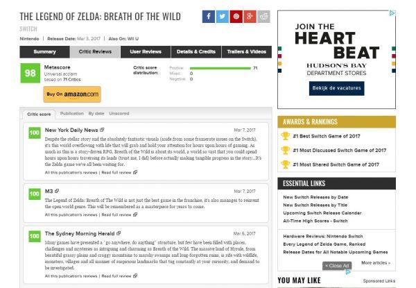 """Breath of the Wild kini tercatat sebagai game yang paling banyak mengumpulkan angka """"100"""" di Metacritic."""