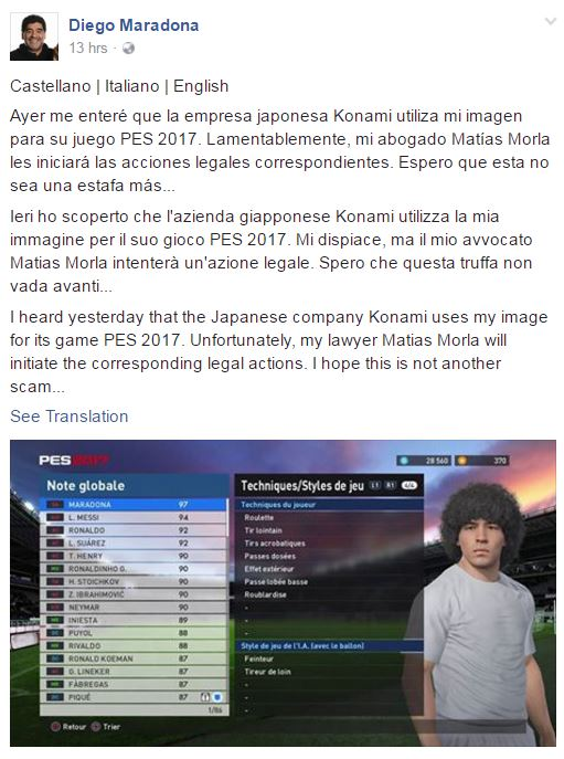Dianggap menggunakan imagenya tanpa izin, legenda bola - Maradona ingin menuntut Konami.