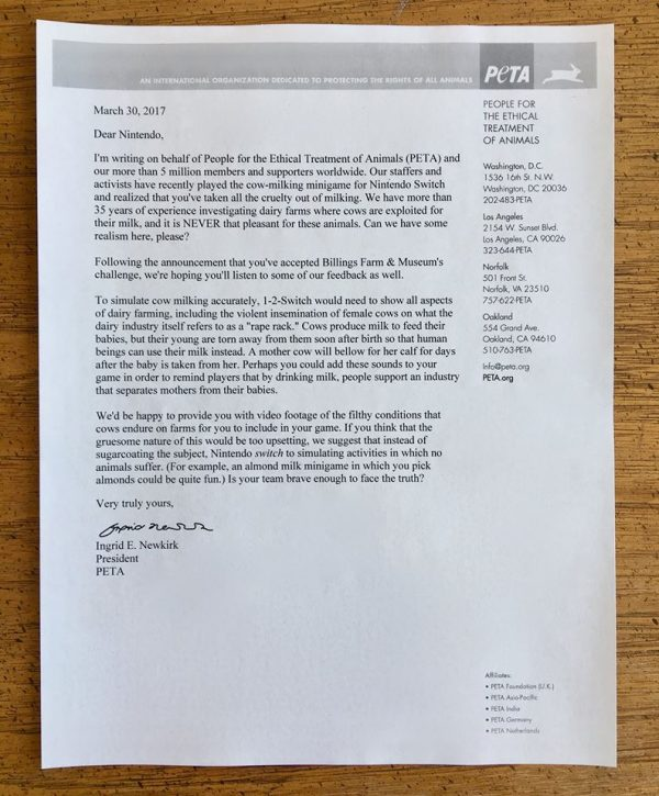 Lewat sebuah surat terbuka, PETA meminta Nintendo memproyeksikan kekejaman industri susu sapi di mini-game 1-2 Switch mereka.