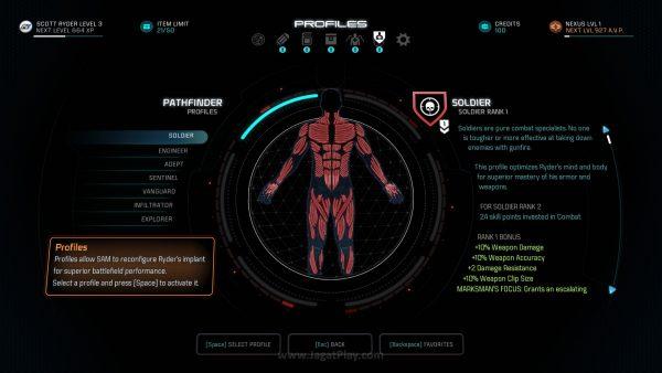 """Lewat sistem """"Profile"""" di Andromeda, bukan kelas yang akan menentukan skill seperti apa yang bisa Anda gunakan, melainkan sebaliknya. Konsep kreatif seperti ini membuat Anda tak ragu untuk bereksperimen dengan ragam build yang ada."""