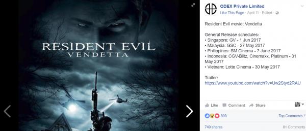 Resident Evil: Vendetta akan resmi tayang untuk pasar Indonesia pada tanggal 31 Mei 2017 mendatang.