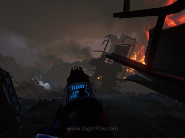 Farpoint mungkin satu dari sedikit game PSVR yang berhasil membuat kami mengalami motion sickness di awal-awal permainan.