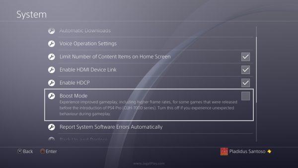 """Lewat update terakhir, Sony kini juga membubuhkan fitur bernama """"Boost Mode"""" yang bisa digunakan untuk memaksimalkan framerate game apapun via performa kasar PRO, tanpa patch sekalipun. Sayangnya, fitur ini sendiri masih belum bisa dibilang optimal jika merujuk pada pengujian teknis yang sempat dilakukan oleh Digital Foundry di masa lalu."""