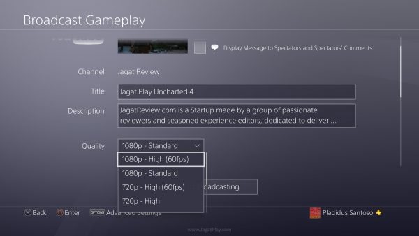 Playstation 4 juga hadir dengan ragam fitur baru yang jarang dibicarakan. Untuk Anda - para Youtuber atau Streamer Twitch misalnya, Anda bisa mengakses format resolusi streaming lebih tinggi di PS4 Pro - hingga 1080p60fps. Namun tentu saja, ia akan menuntut bandwith internet lebih besar.