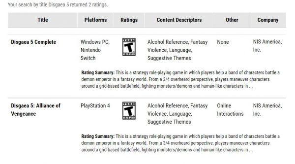 Badan rating game - ESRB menuliskan Disgaea 5 Complete juga dirilis untuk PC. NIS belum angkat bicara soal rumor ini.