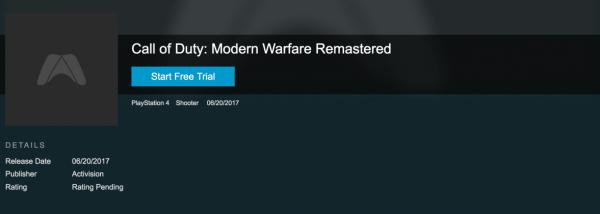 Situs retailer game raksasa - GameFly menuliskan 30 Juni 2017 sebagai rilis terpisah COD: Modern Warfare Remastered.