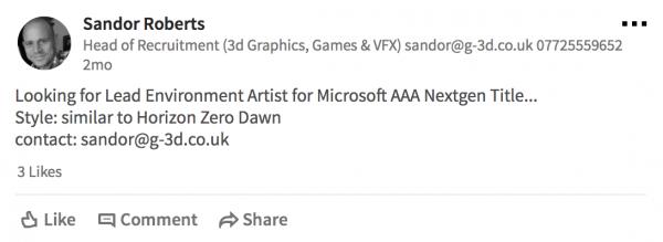 Microsoft tengah mencari Lead Environment Artist untuk game AAA ala HZD.