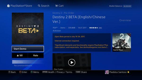 Tanpa perlu melakukan PO ala region lain, Anda yang memiliki akun PSN Asia akan bisa menikmati beta Destiny 2 mulai dari tanggal 19 Juli 2017. Proses pre-load bahkan kini sudah tersedia.