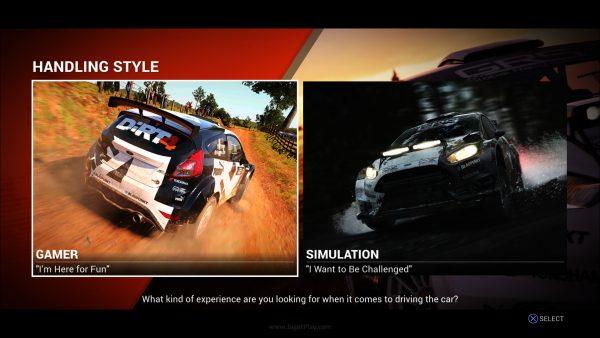 Dirt 4 menawarkan dua mode handling - Simulasi dan Gear.