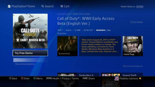 Berbeda dengan region Amerika dan Eropa, gamer Playstation Asia bisa mencicipi masa beta COD: WW II tanpa melakukan PO terlebih dahulu.