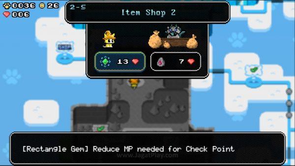 """""""Mempersulit diri sendiri"""" dengan mengumpulkan permata merah di tiap level akan memungkinkan Anda membeli item dan skill lebih banyak."""