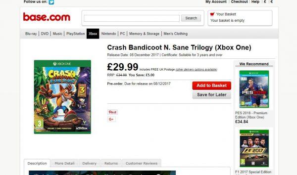 Salah satu situs retail luar secara eksplisit mulai menjual Crash Bandicoot Remaster versi Xbox One dengan Desember 2017 sebagai jendela rilis.