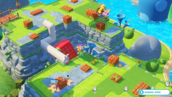 Balok-balok ikonik dunia Mario akan memegang peran kunci dalam pertempuran. Ia akan menjadi tempat berlindung dari serangan. Apakah ia bisa dihancurkan atau tidak akan sangat bergantung pada material balok itu sendiri.
